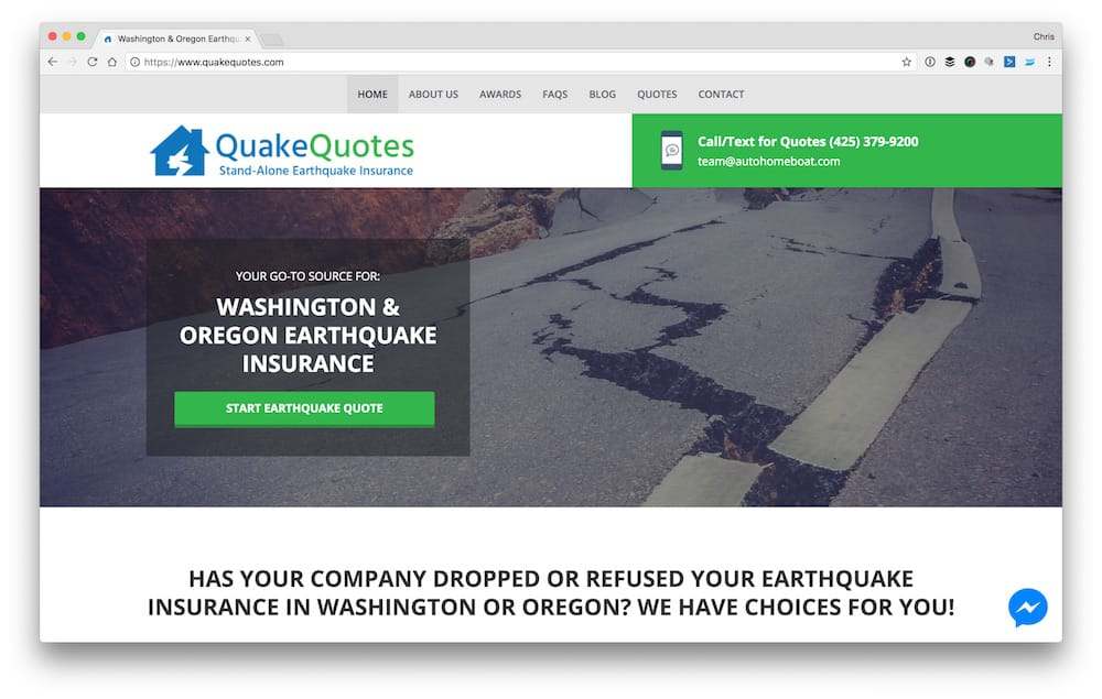 earthquake insurance in washington and oregon