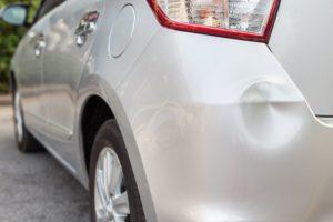 Dent in car bumper