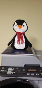 A crocheted penguin