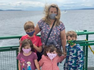 Laura and grandkids on ferry